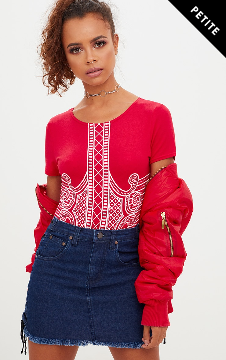 Petite Red Printed Short Sleeve Bodysuit 1