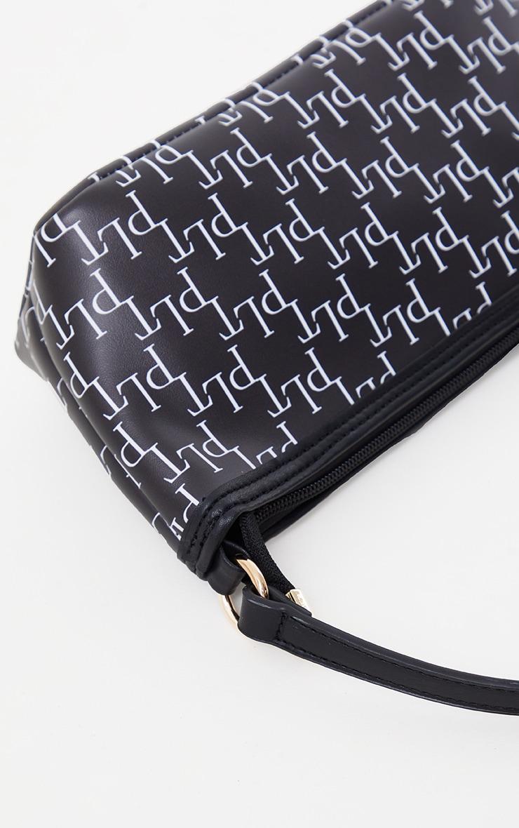 PRETTYLITTLETHING Black Monogram Shoulder Bag 3