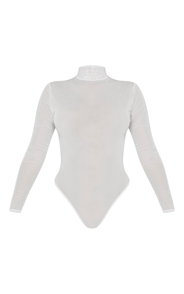 White Mesh Pearl Detail Long Sleeve Bodysuit 3