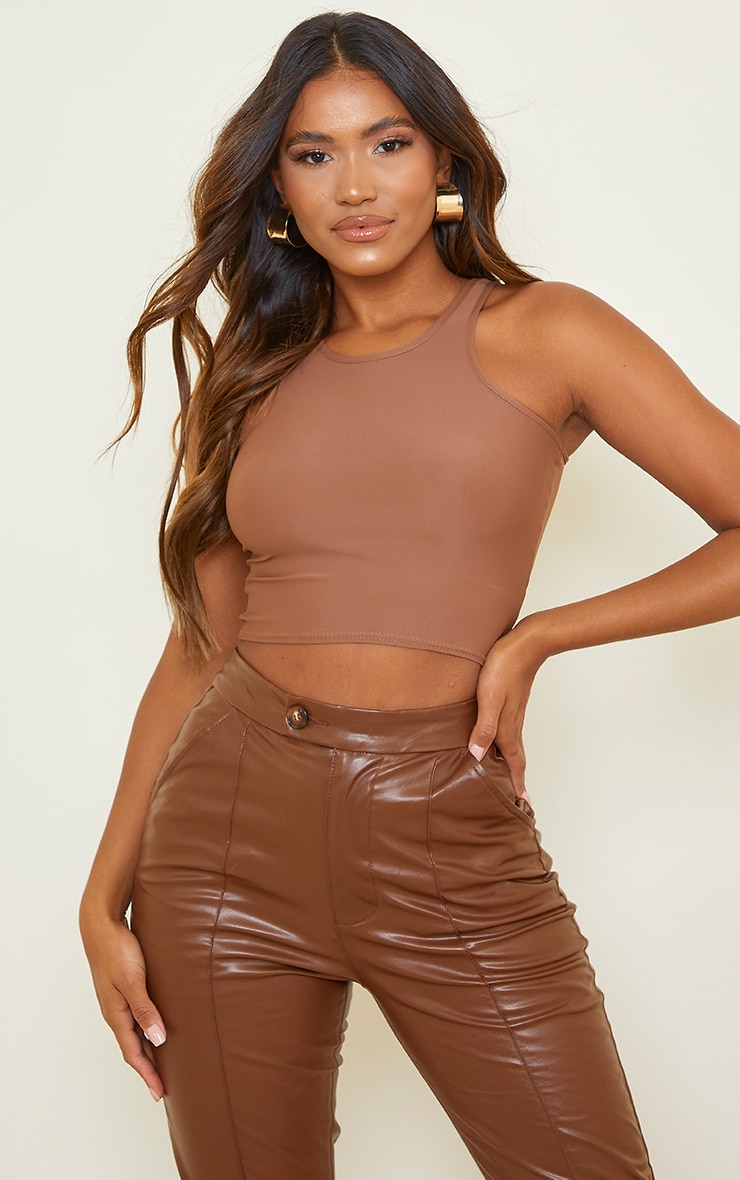 Chocolate Slinky Fitted Racer Crop Top 2