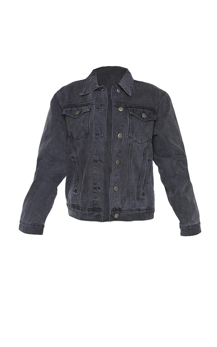 Petite Black Denim Ripped Elbow Jacket 5