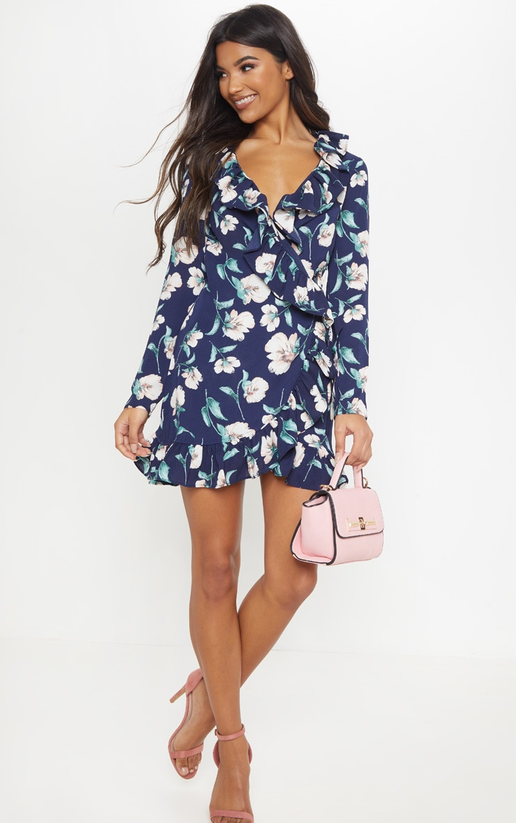 Raina Navy Floral Wrap Tea Dress 4