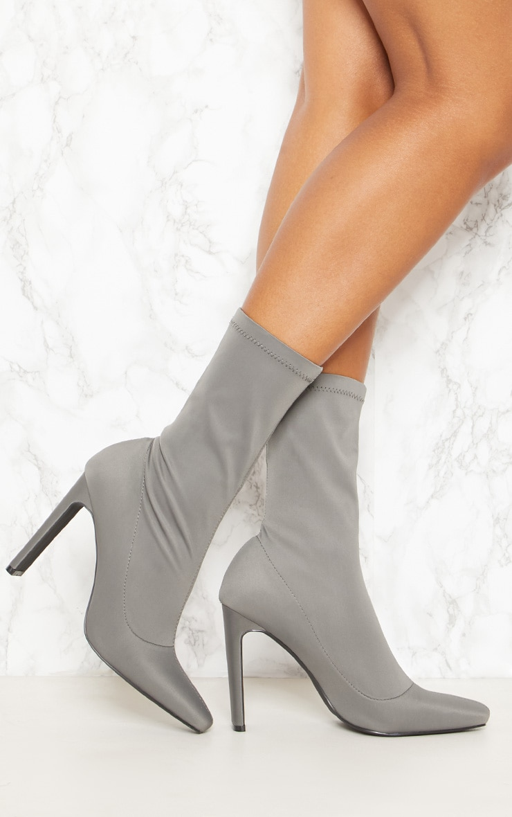 Charcoal Grey Lycra Flat Heel Ankle Boot