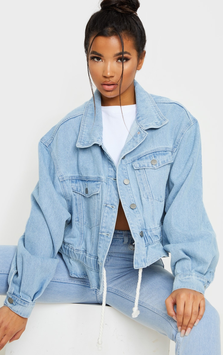 Light Blue Wash Rope Tie Hem Oversized Denim Jacket 1