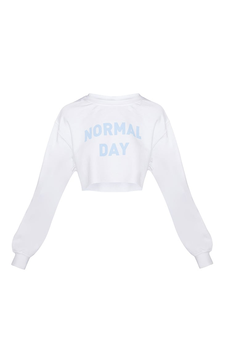White Normal Day Slogan Oversized Sweater 3