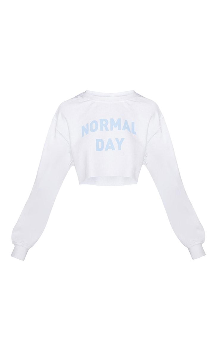 White Normal Day Slogan Crop Sweater 3
