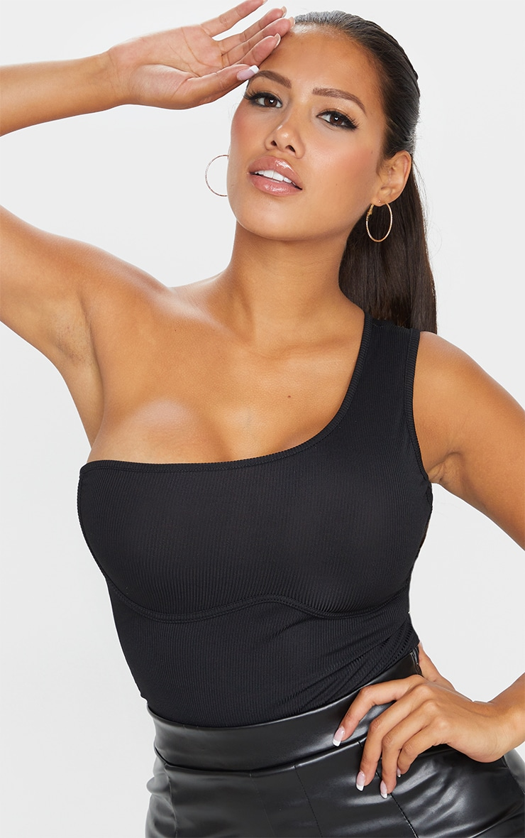 Shape Black Rib One Shoulder Underbust Bodysuit 4