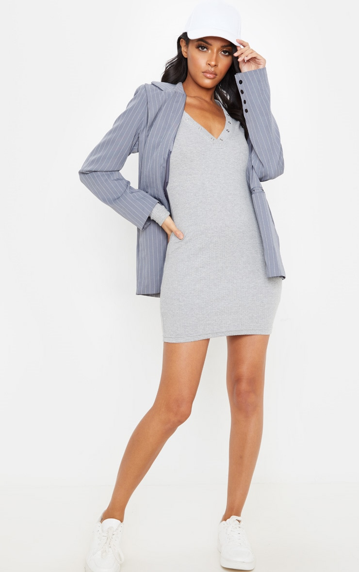 Grey Heavy Rib Popper Neck Long Sleeve Bodycon Dress  4