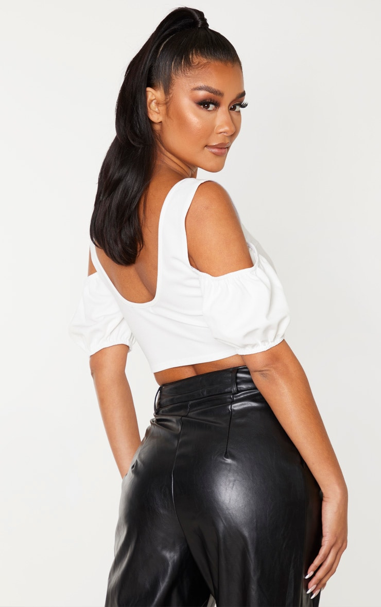 White Crepe Cold Shoulder Panelled Detail Crop Top 2