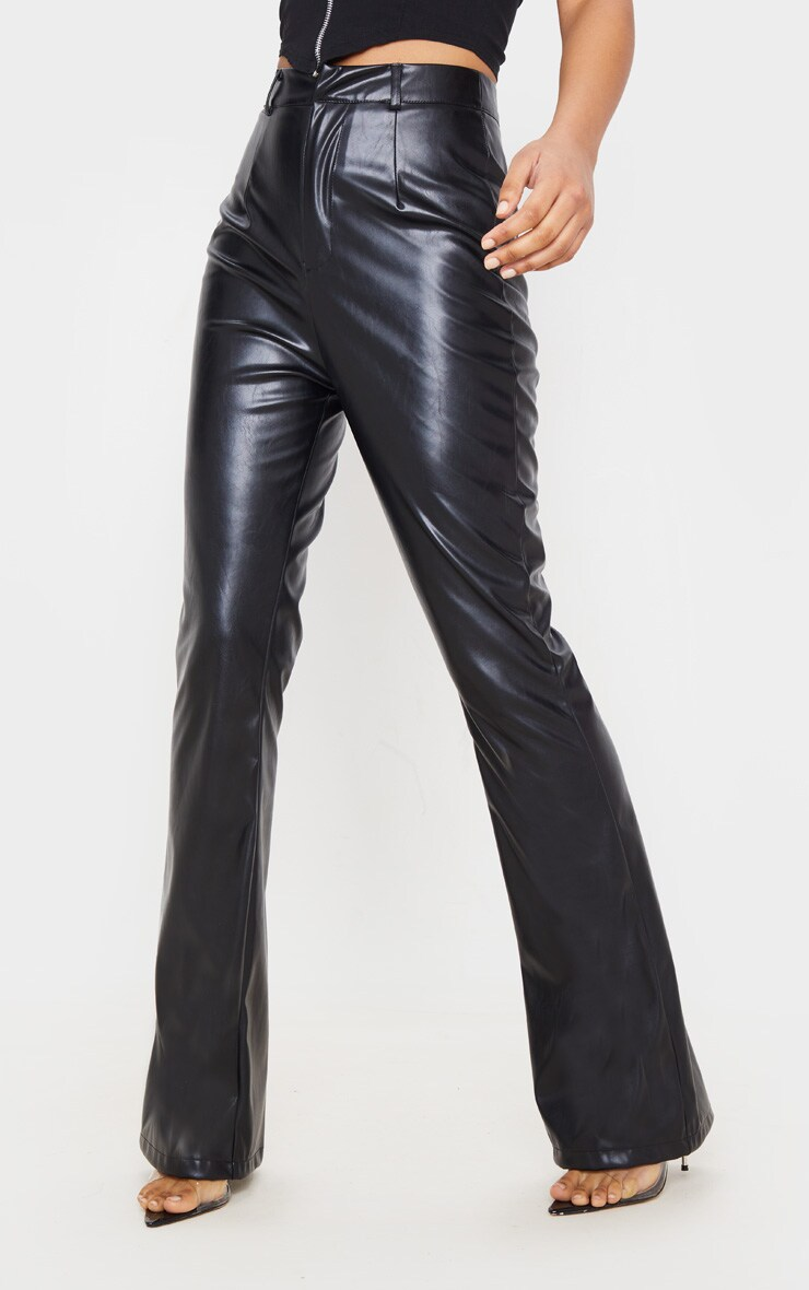 Black PU Flared Detail Trousers 2