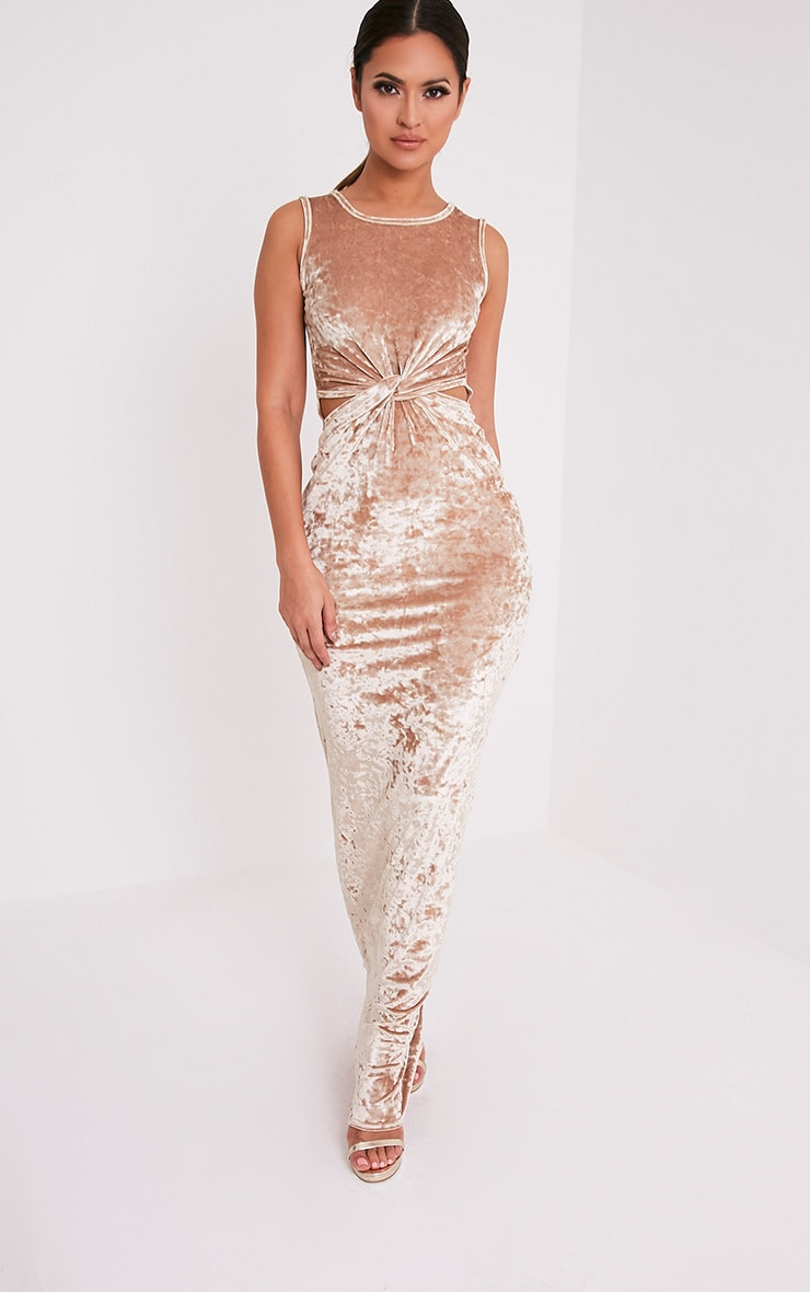 Jaydiah Champagne Crushed Velvet Maxi Dress 2