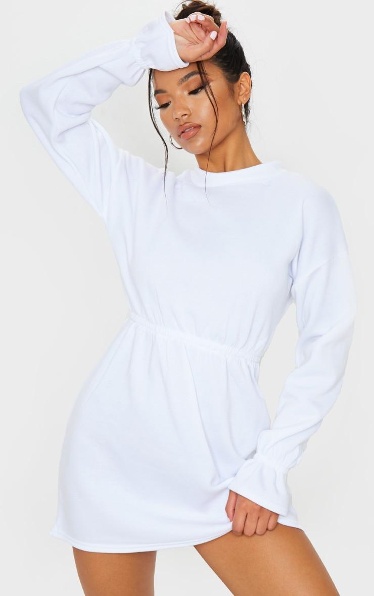White Elastic Waist Fleece Jumper Dress 1