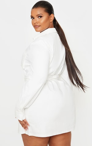 Plus White Utility Shirt Dress