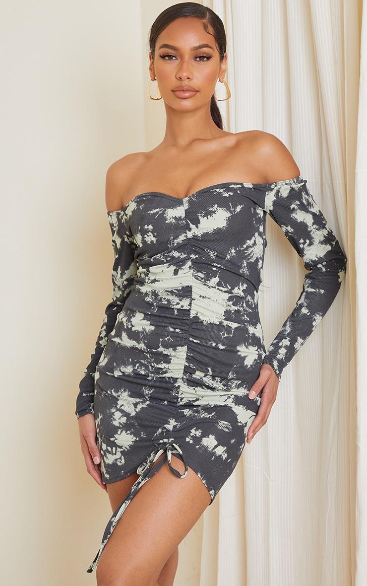Multi Tie Dye Print Ribbed Ruched Bardot Bodycon Dress 1