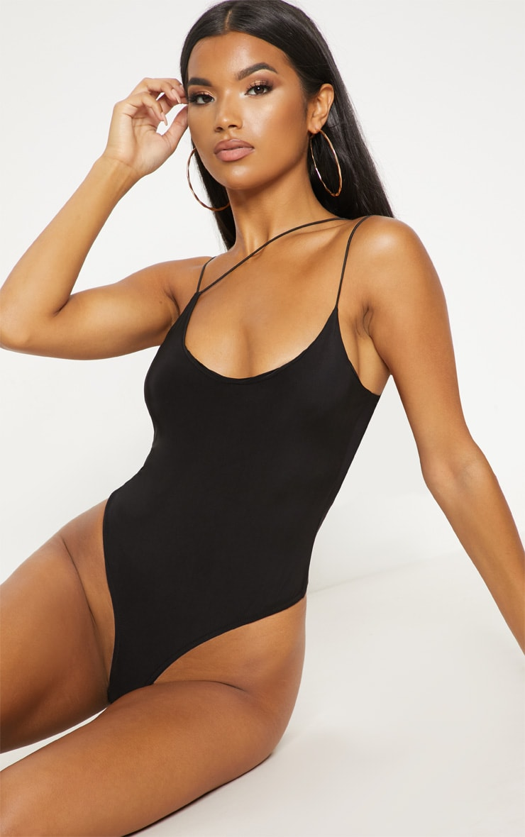 Black Asymmetric Slinky Bodysuit 2