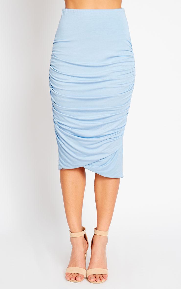 Asia Powder Blue Jersey Ruched Midi Skirt 2