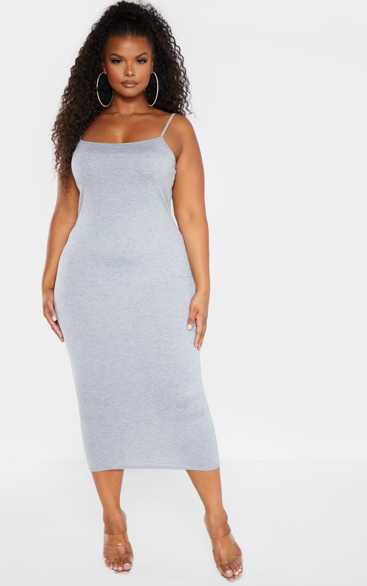 Plus Grey Marl Strappy Jersey Maxi Dress  1