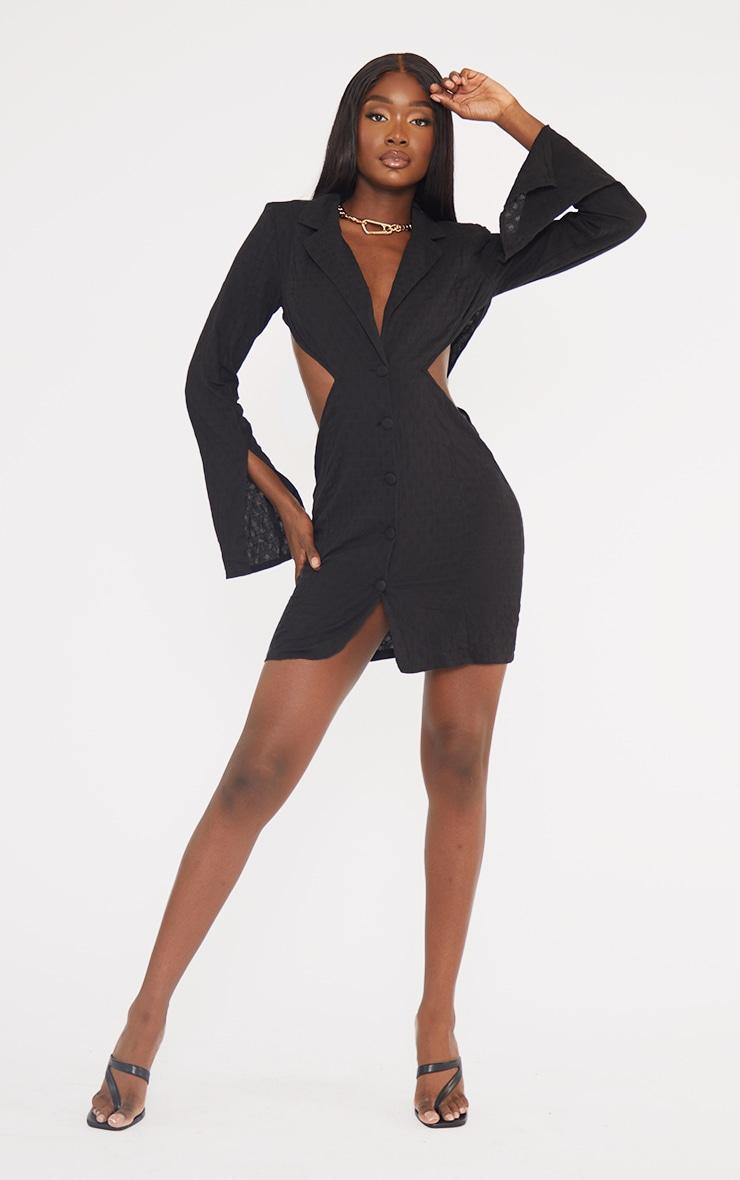 Tall Black Textured Shoulder Pad Cut Out Blazer Dress 1