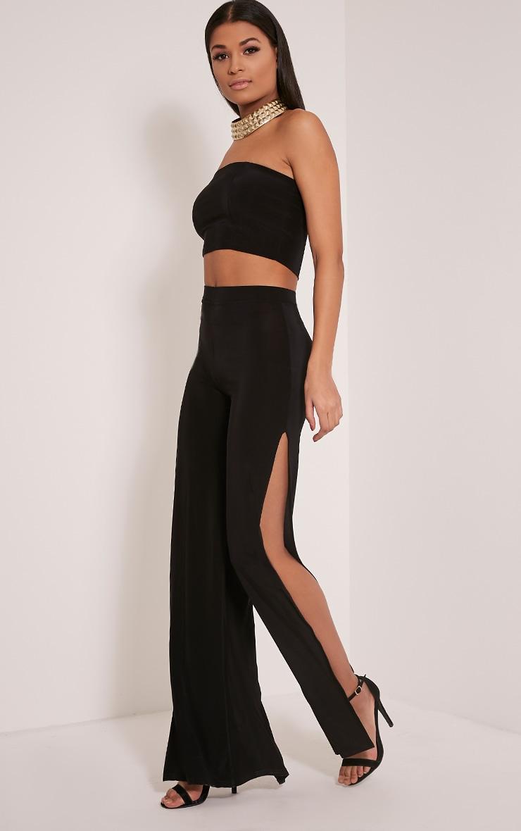 Darsee Black Side Split Slinky Trousers 1