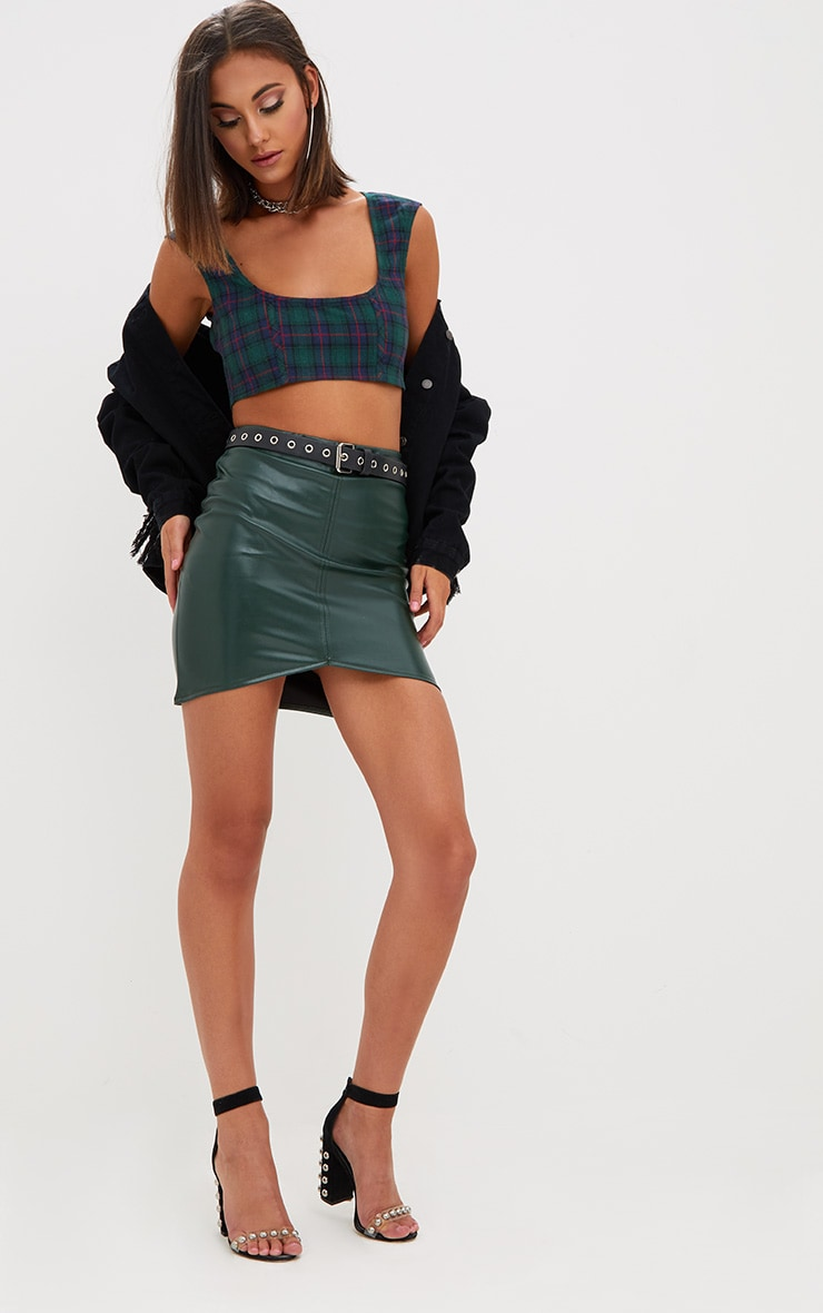 Green Check Low Square Neck Crop Top 4