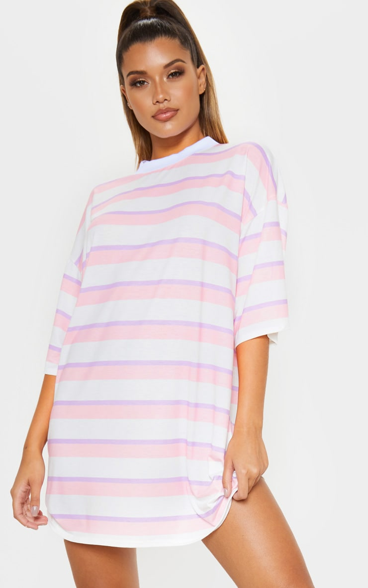 Baby Pink Stripe Oversized Boyfriend T Shirt Dress 2