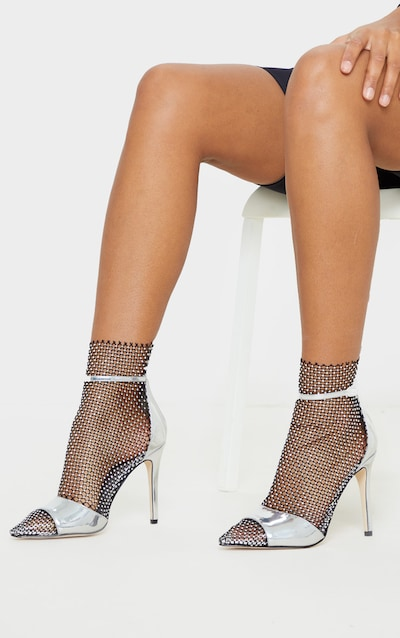 Silver Diamante Fishnet Point Toe Sandal