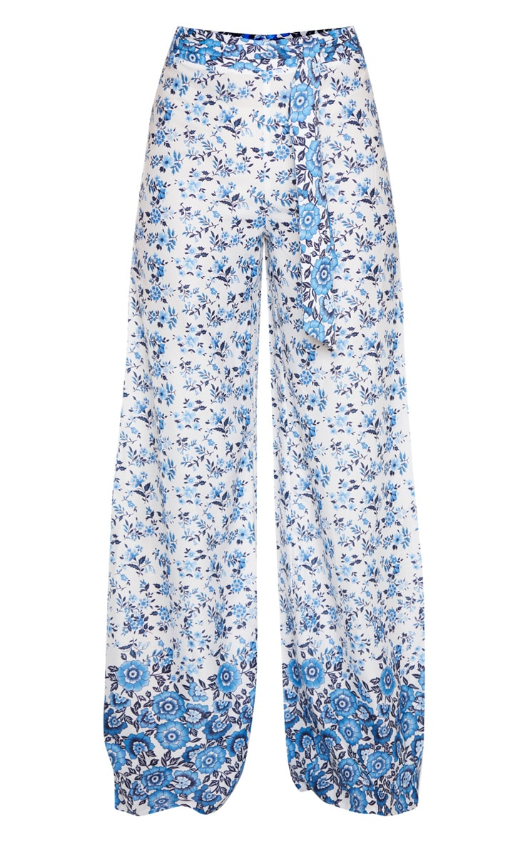 White Woven Paisley Print High Waisted Belted Wide Leg Pants 3
