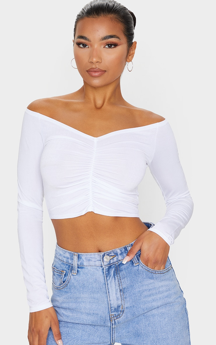 White Slinky Ruched Front Long Sleeve Crop Top  1