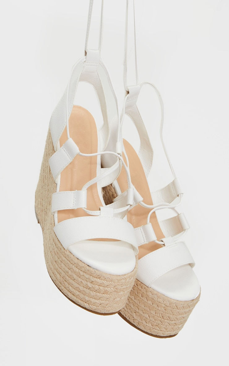 White Raffia Lace Up Wedge Heel 4