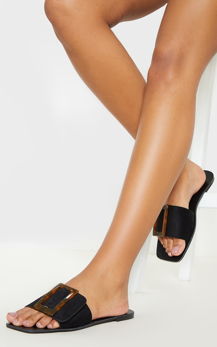Black Buckle Mule Sandal 3