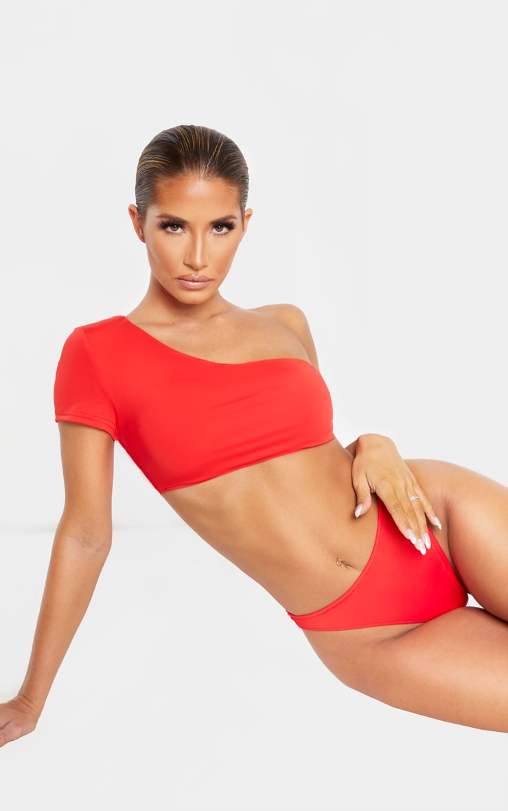 Red One Shoulder Sleeve Bikini Top 1