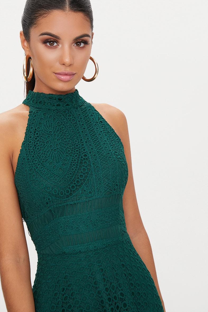 Emerald Green Lace High Neck Skater Dress 5
