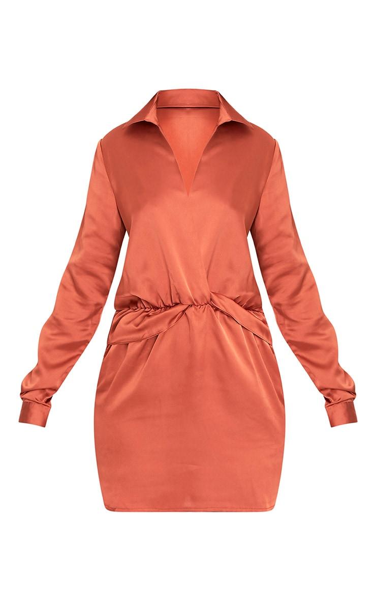 Katalea robe chemise en soie tabac à devant torsadé 3