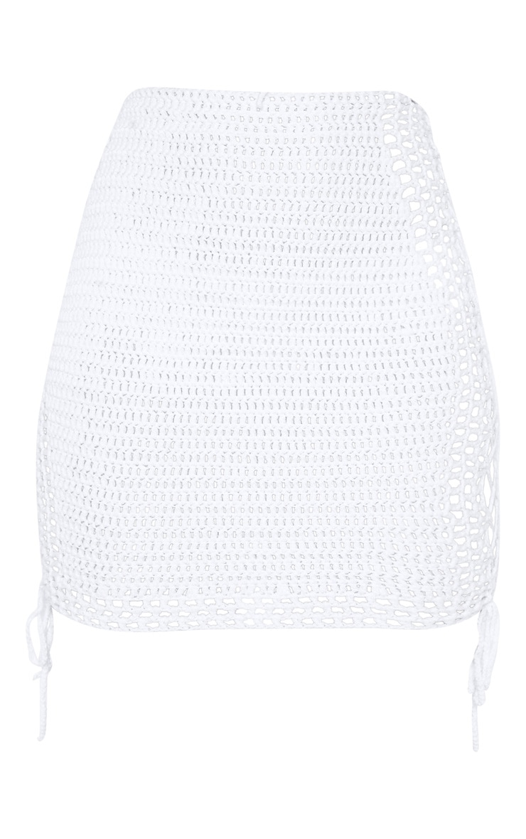 Cream Crochet Knitted Lace up Skirt 3