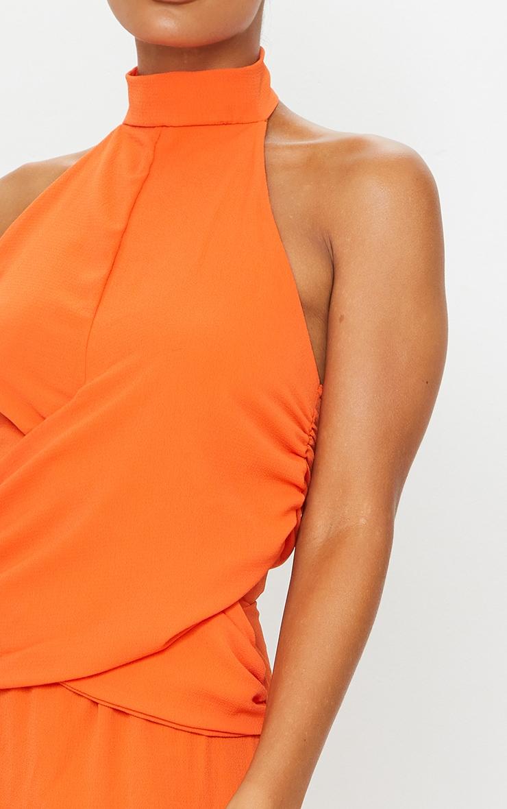 Tangerine Halterneck Wrap Front Maxi Dress 4