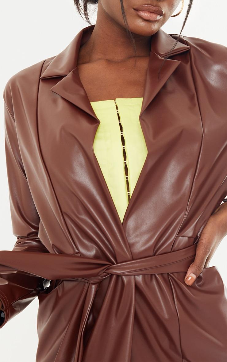 Tall Chocolate Drop Collar Faux Leather Blazer 4