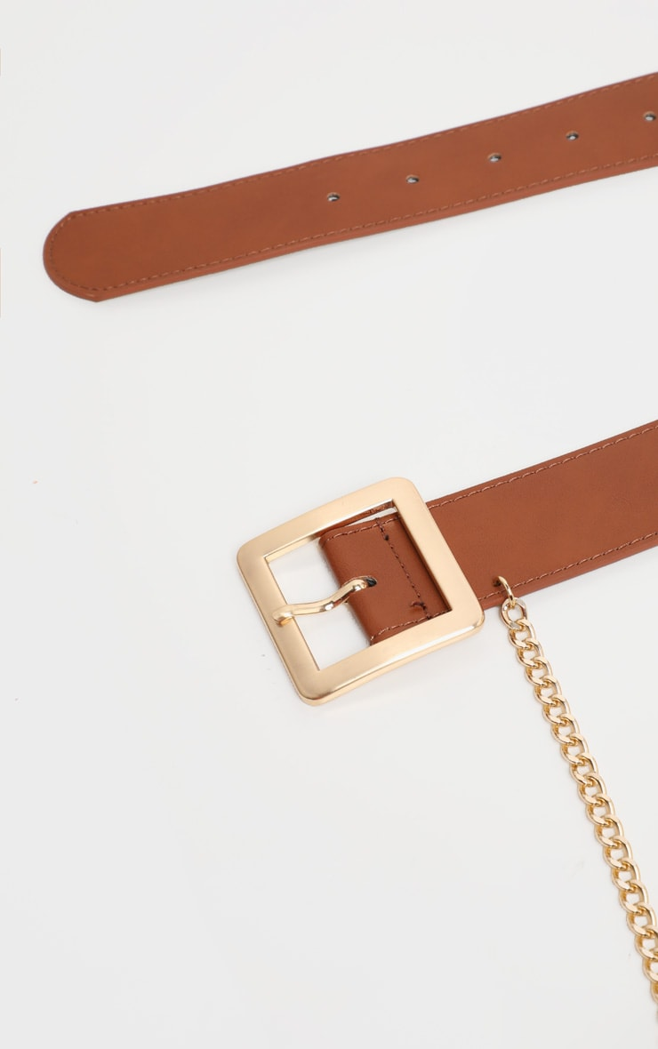 Tan Belt With Gold Chain 4