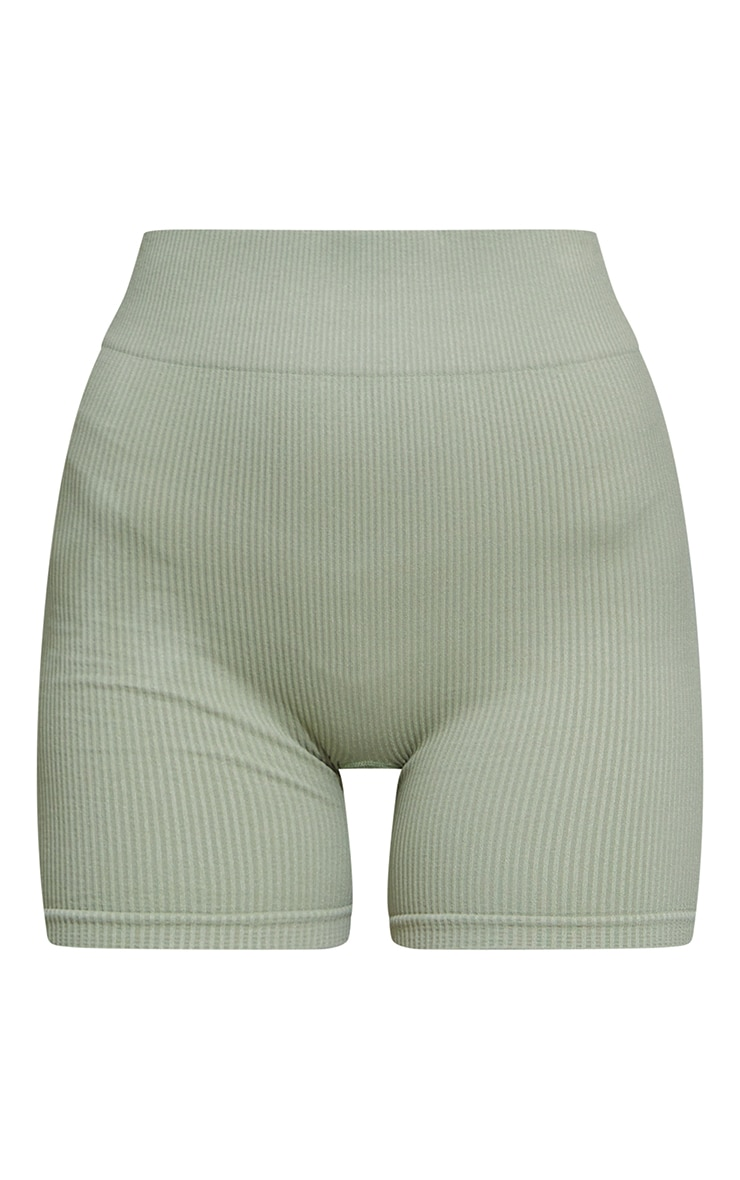 Sage Green Seamless High Waist Rib Shorts 6