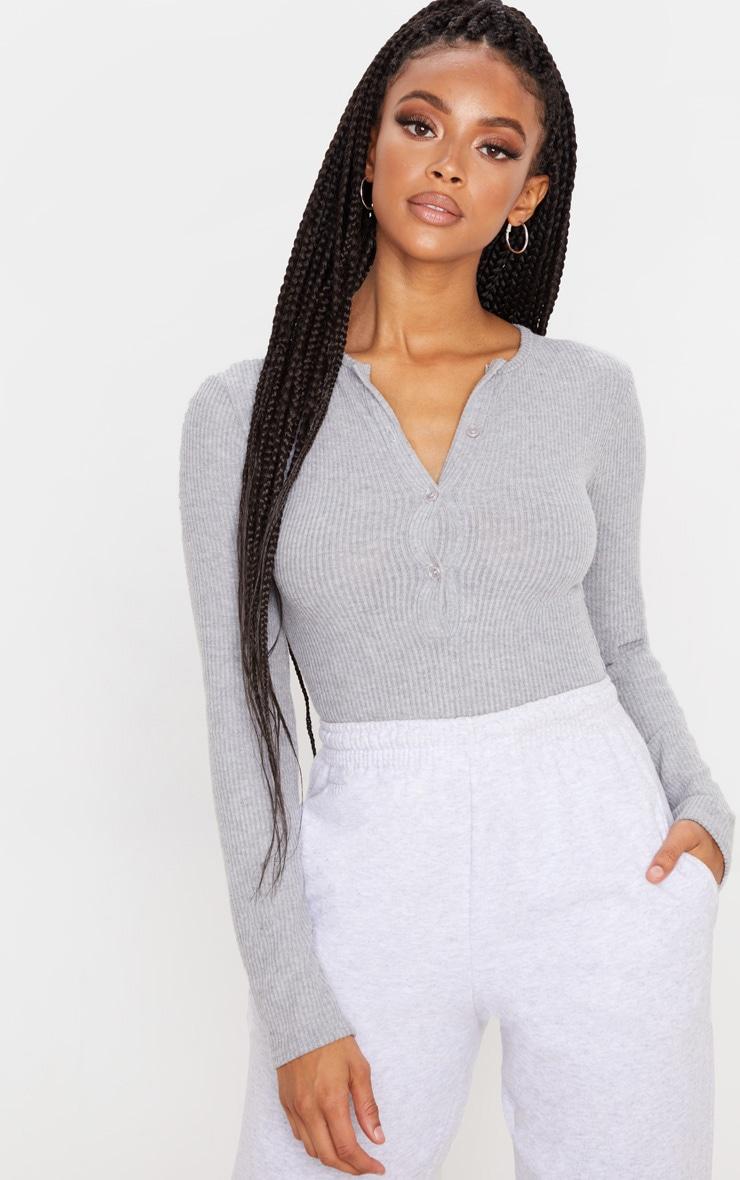 Grey Brushed Rib Button Long Sleeve Bodysuit 1