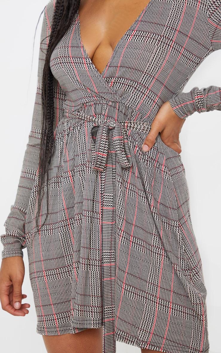 Beige Check Print Wrap Long Sleeve Tea Dress 5