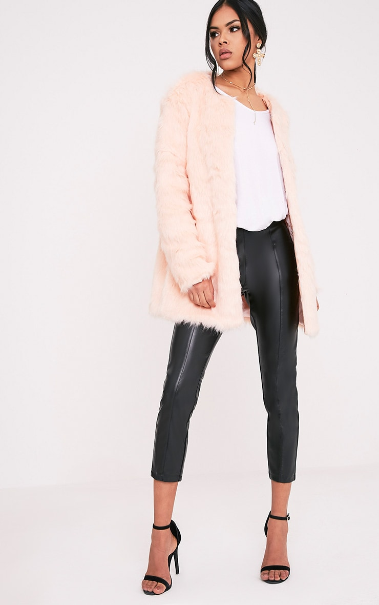 Florencia Baby Pink Faux Fur Coat 5