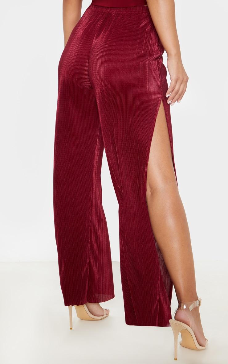 Petite - Pantalon large bordeaux plissé et fendu 4