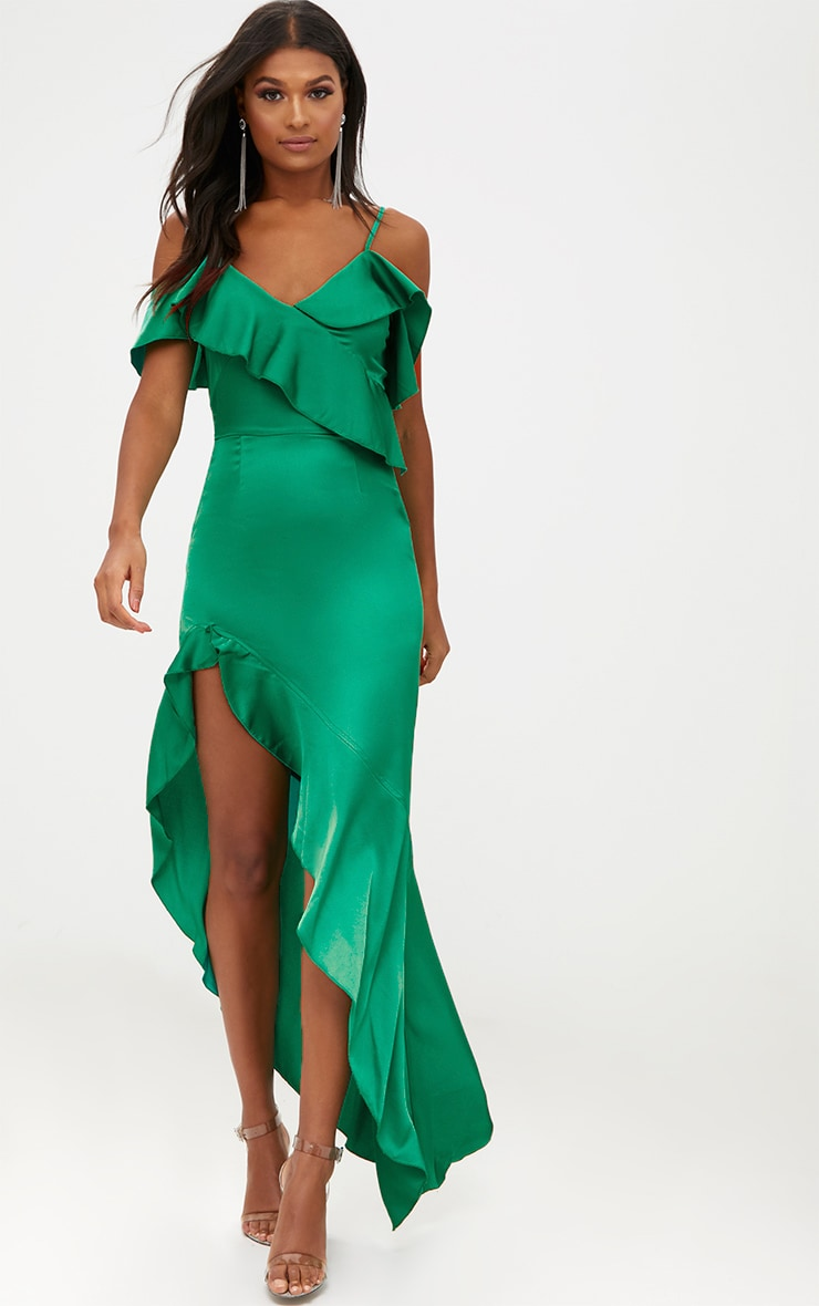 Green satin asymmetric hem maxi dress