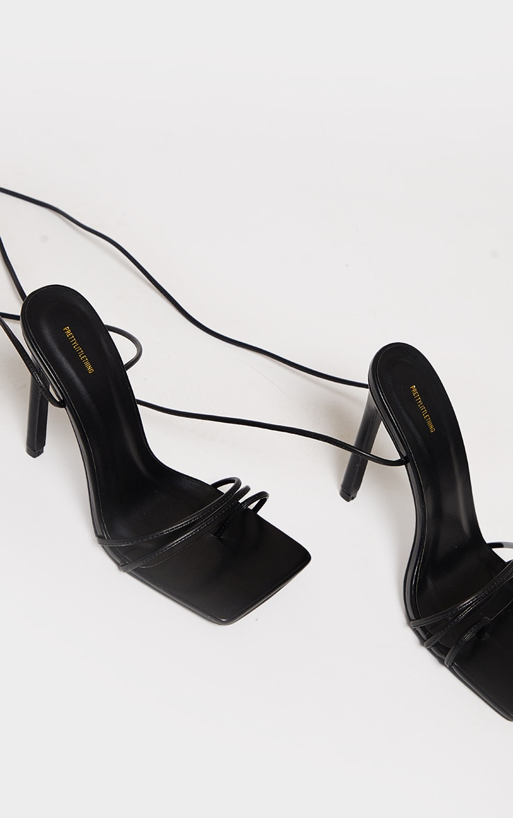 Black PU Square Toe Lace Up Toe Loop Heels 3