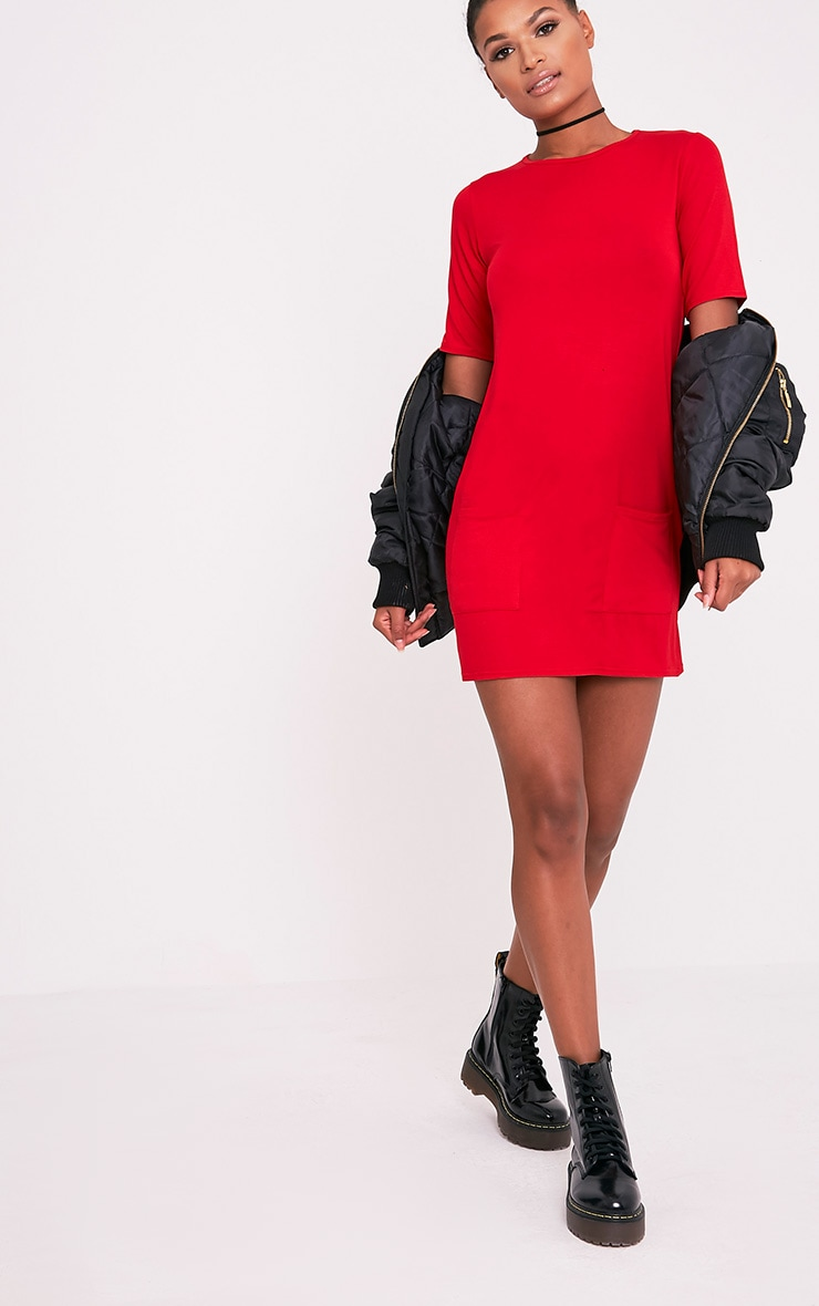 Basic robe t-shirt rouge à poche 5