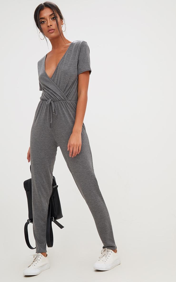 Charcoal Jersey Wrap Jumpsuit  4