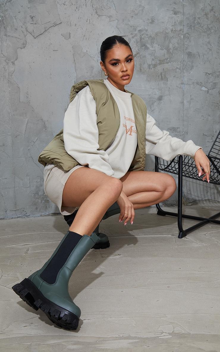 Khaki Chunky Cleated Sole Calf High Chelsea Boots