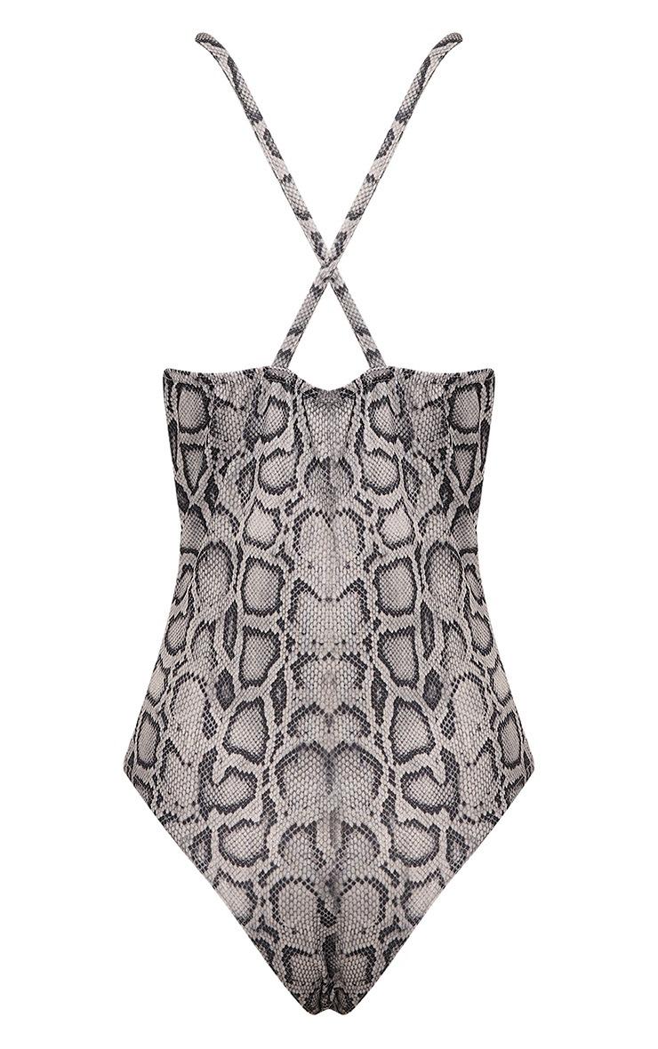 Rosina Grey Snakeskin Plunge Thong Bodysuit 4
