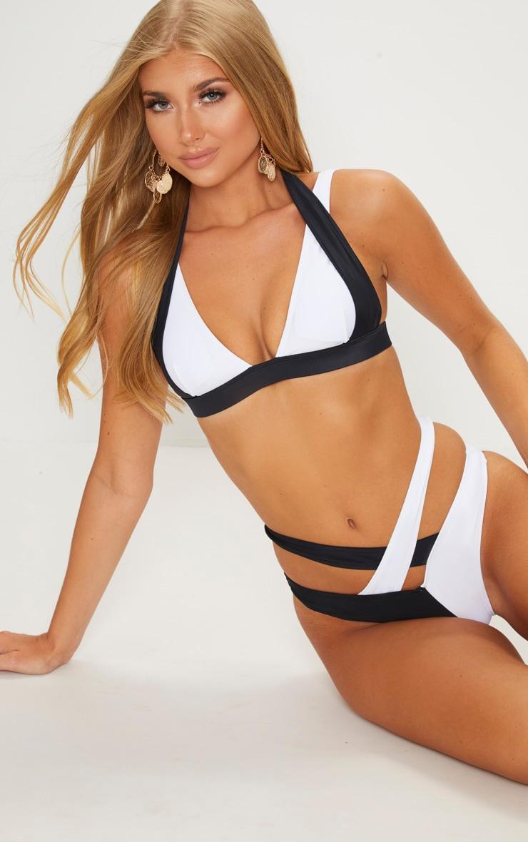 Black Halter Tie Contrast Bikini Top by Prettylittlething