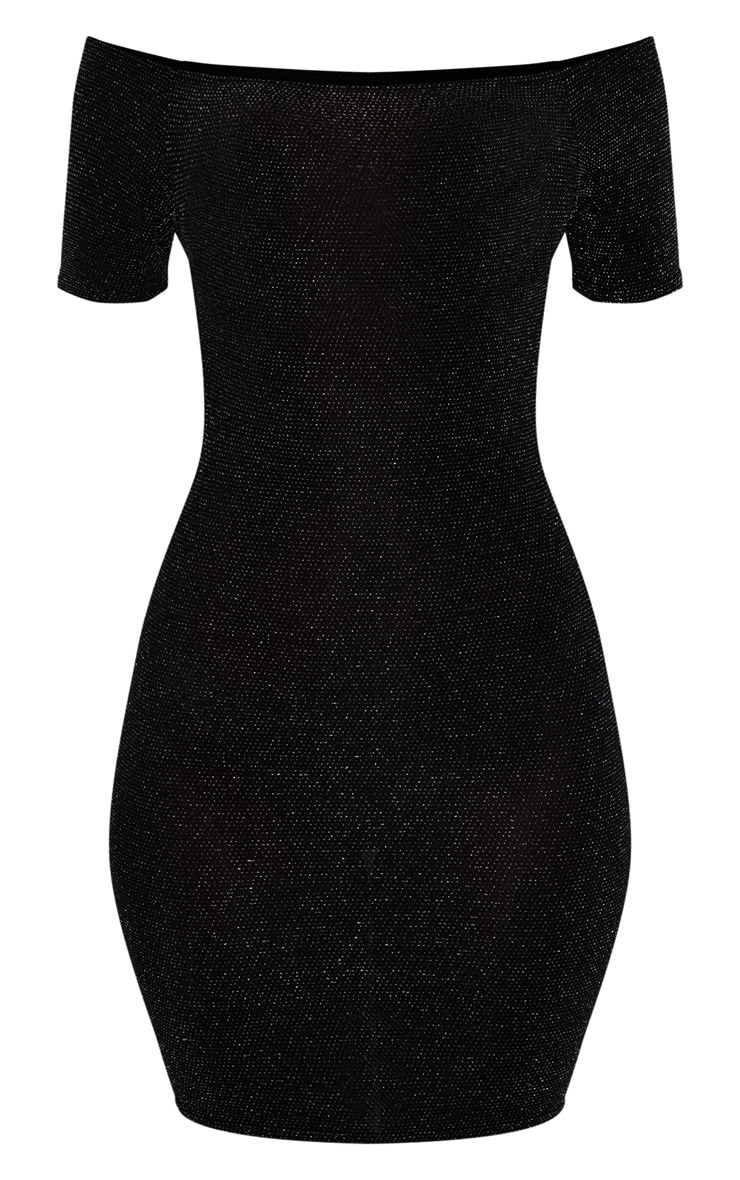 Black Bardot Short Sleeve Textured Glitter Bodycon Dress 3